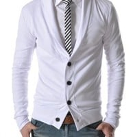 TheLees (GD132) Mens Slim Fit Collar Point Button Cardigan White US XS(Tag size M)