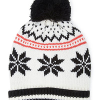 FOREVER 21 Fair Isle Pompom Beanie Cream/Multi One