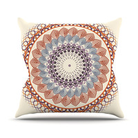 "Famenxt ""Vintage Mandala"" Yellow Multicolor Outdoor Throw Pillow"
