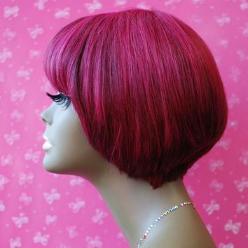 Wishe Miami : custom made remy human hair wig-  short cute bob styles- Mix of magenta colors