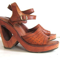 vintage KILLER 1970s wooden platform cut out wedge sandals