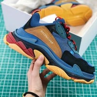 Balenciaga Triple S Trainers Sneaker Blue Oversized Multimaterial Sneakers With Quilted Effect - Sale