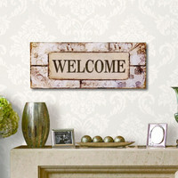 """Decorative Wood Wall Hanging Sign Plaque """"Welcome"""" Pastel Home Decor"""