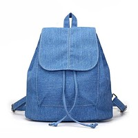 2017 New Design Soft Denim Women Backpacks Drawstring Bag School Bags Travel Bag Small Backpack Rucksack Bolsas Mochila Feminina