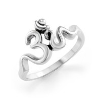 925 Sterling Silver Calligraphy Style Yoga Om Aum Ohm Ring for Women (6)