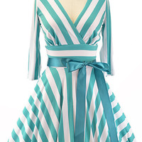 full circle stripey day dress with cut-out back - light teal & white | le bomb shop