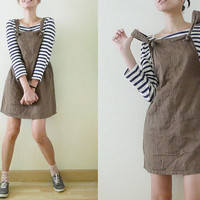 CUTE 90s VTG plain brown-green army mini overall dress,pinafore,romper,jumper,tank dress,baby doll,indie,street fashion,club kid,grunge, S-M