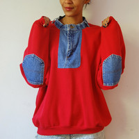 Vtg Blue Jean Patched Red Cotton Sweatshirt