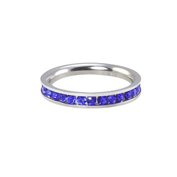 Eternity Ring Stainless Steel Blue CZ Ring 3mm Stackable Band Cubic Zirconia