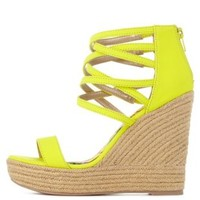Neon Yellow Caged Ankle Cuff Espadrille Wedges by Charlotte Russe