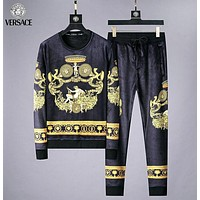 Versace Autumn And Winter Fashion New Human Head Print Women Men Long Sleeve Top And Pants Two Piece Suit