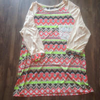 Plus Size Aztec Print with Lace Pocket & Tan Sleeves