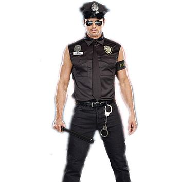 Halloween Costumes Adult America U.S. Police Dirty Cop Officer Costume Top Shirt Fancy Cosplay Clothing for Men