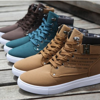 Fashion Spring Autumn Leather Shoes Street  Casual Fashion High Top Shoes Canvas Sneakers