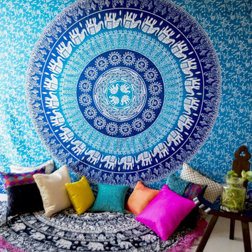Shopnelo Home Special  Tapestry Wall Hanging Indian Circle of Flowers Purple Round Throw Beach Picnic Blanket Round Bed Sheet Roundie Table Cover