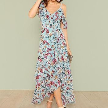 Happy Floral Ruffle Maxi Dress