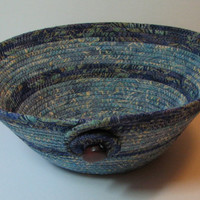 Coiled Fabric Basket, Coiled Fabric Bowl, decorative bowl, blue/violet