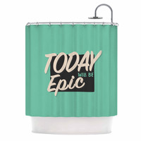 "Juan Paolo ""Epic Day"" Vintage Teal Shower Curtain"