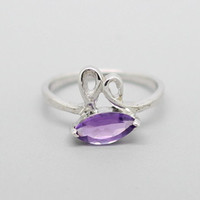 Rabbit Amethyst Sliver Ring, 925 amethyst Ring, violet quartz Ring, February Birthstone, Birthdays gift, Wedding present, Special Occasion
