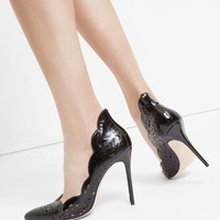 Metallic bow leather court shoes - Black   Shoes   Ted Baker