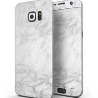 White Scratched Marble - Full Body Skin-Kit for the Samsung Galaxy S7 or S7 Edge
