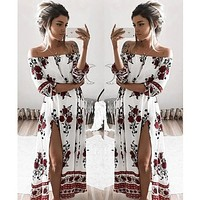 Flower Print Off Shoulder Fashion Retro Short Sleeve Maxi Dress