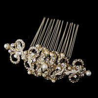 Opentip.com: Elegance by Carbonneau Comb-13088-G-Ivory Vintage Pearl & Crystal Bridal Hair Comb 13088 Gold