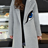 Grey Eye Embroidered Lapel Winter Coat
