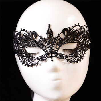 New Mysterious Sexy Lady Lace Floral Eye Mask Lace Gothic style mask dance mask Venetian Masquerade Fancy Party Dress Black
