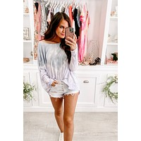 Soft Hearts Tie Dye Top (Lavender/D.Blue)