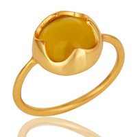 Handmade Yellow Aventurine Gemstone Stackable Ring In 18K Gold Over Sterling Sil