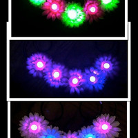 LED Flashing Light Up Daisy Flower Headband, EDC, Flower Crown, Flower Halo, Festival Wear, Electric Daisy Carnival, Rave, Coachella