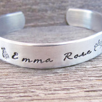 Girls Bracelet NAME Hand Stamped Jewelry Cuff Personalized Kids Children's Quote Made To Order NEW Font Cursive Feminine Toddler