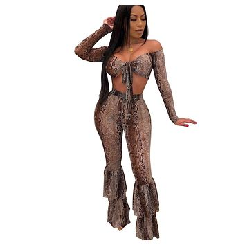 Women Sexy Two Piece Snake Print Off The Shoulder Crop Top Ruffle Pant Set