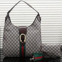 Gucci Women Fashion Leather Satchel Shoulder Bag Handbag Two Piece Set