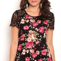 Short sleeve floral print rayon span lace sleeve tee with large keyhole back