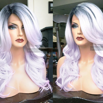 USA // Human Hair BLEND Silver Gray Swiss LACE Front & Part Silver White Ombre Wavy Grey Wig w/ Dark Root and Baby Hair