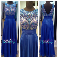 Royal Blue Beaded Evening Prom Dress, Sexy Sparkly Prom Homecoming Dress, Sexy Beaded Blue Dress, Long Prom Mint Dress, Evening Gown 2014