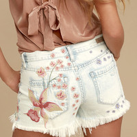 Blank NYC Hiker Light Wash Embroidered Distressed Denim Shorts