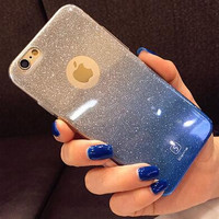 Shiny iphone6s phone case iphone 6s plus protective cover gradient TPU soft shell