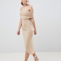 ASOS DESIGN kimmi slinky ruched bardot midi dress at asos.com