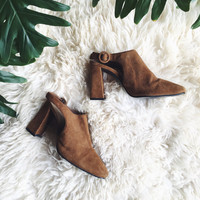 Vintage Leather Mules, 6 6.5 90's Colin Stuart Brown Suede Mules, Slingback Chunky Heels, T Strap Mules, Brown Leather Heels, Leather Pumps
