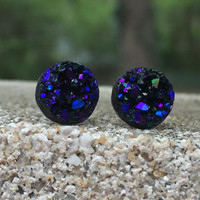 Earrings Druzy Stud Earrings Boho Jewelry Midnight Blue Purple Black 10MM
