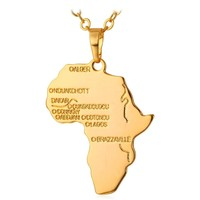 Africa Map Necklace Pendant & Chain for Men or Women