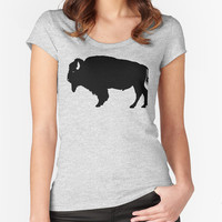 Buffalo T-shirt - Fitted Scoop Neck Women's T-shirt