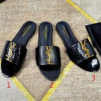 Saint Laurent YSL Logo Letter buckle decoration Flat sandals