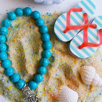 Turquoise Beaded Anchor Charm Bracelet, Women's Jewelry