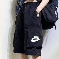 NIKE New fashion letter hook print shorts Black