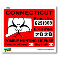 Connecticut CT Zombie Hunting License Permit Red Sticker