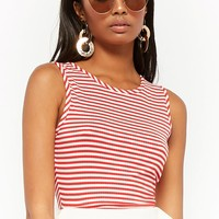 Striped Caged Back Crop Top